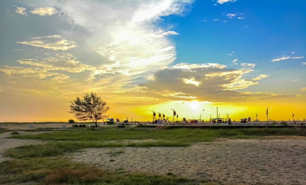Beach sunset, beach, yellow, blue, Sunset, Sun, Sand,