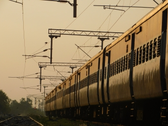 Empty train under Golden Dusk